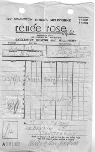 A receipt from Renee Rose, a store in Swanston Street Melbourne dated 1956