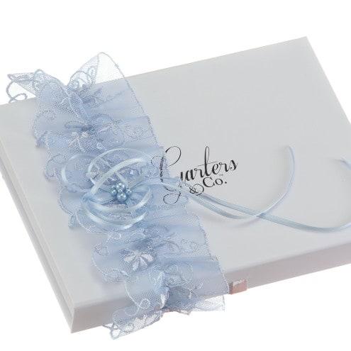 Cassie Blue Wedding Garter with pearls