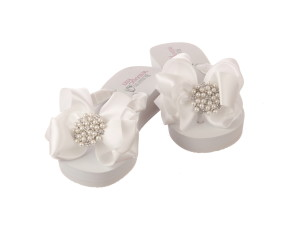 Comfortable Wedding Shoes, Bridal Flip Flops with pretty embellishment