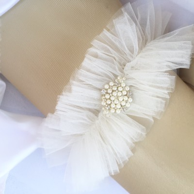 Bella Bridal White Wedding Garter with Tulle and Pearls