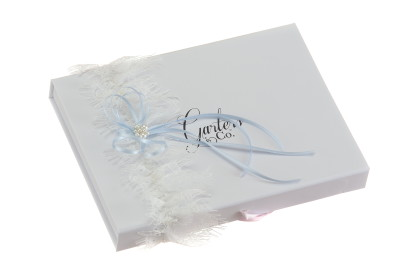 Jessica Silk White Wedding Garter with a blue bow