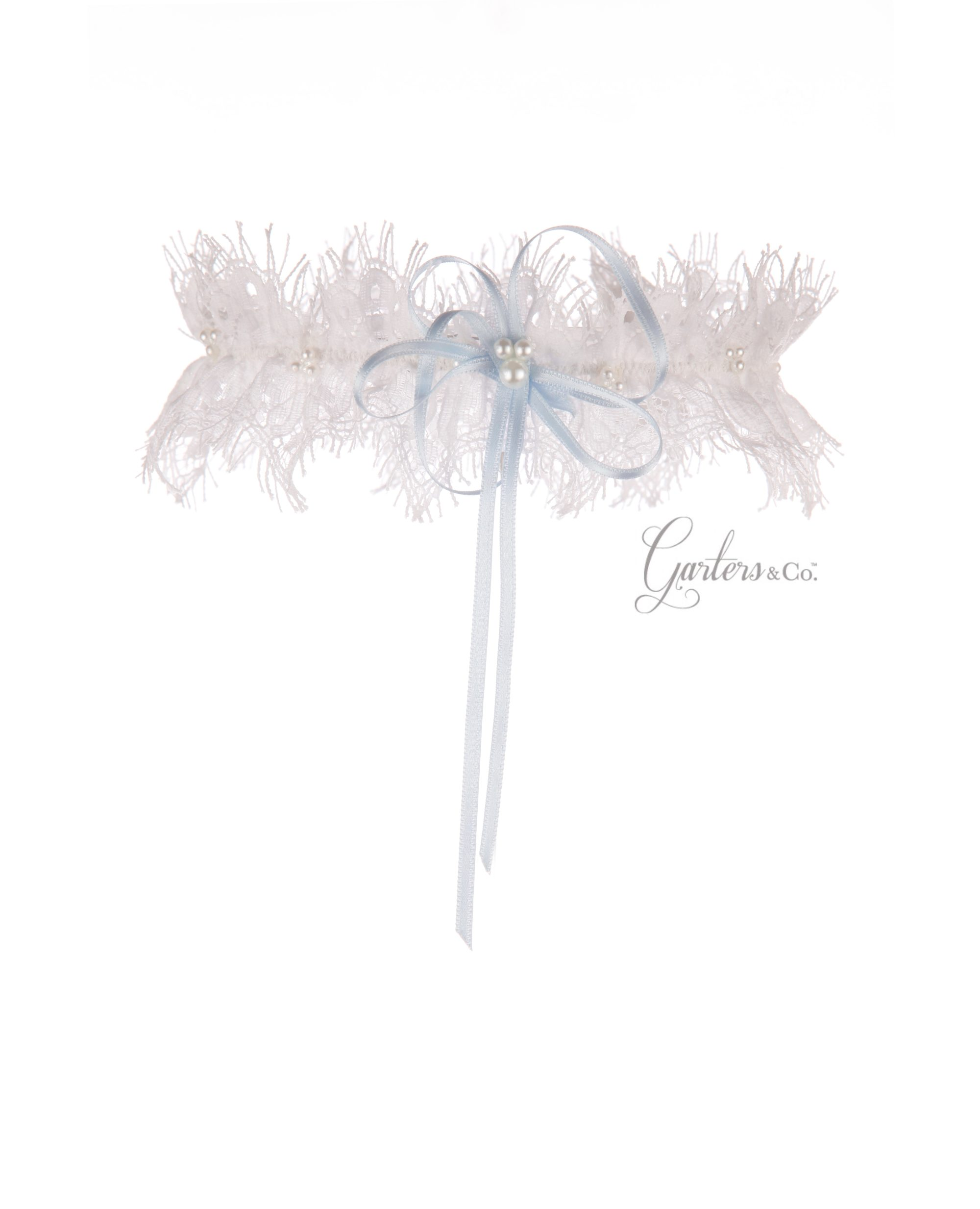 Jessica Silk White Wedding Garter with blue bow