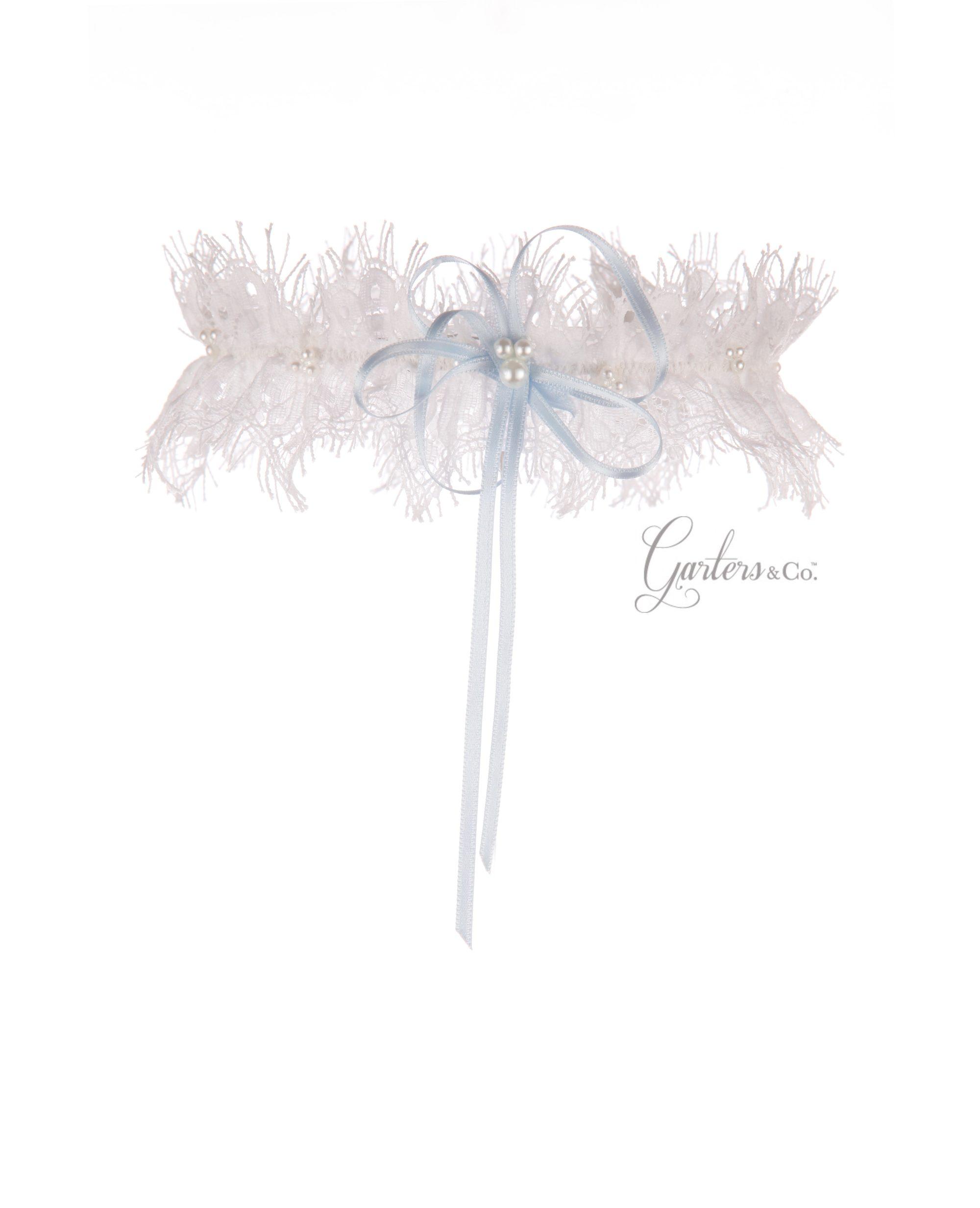 Jessica Silk White Wedding Garter with blue bow