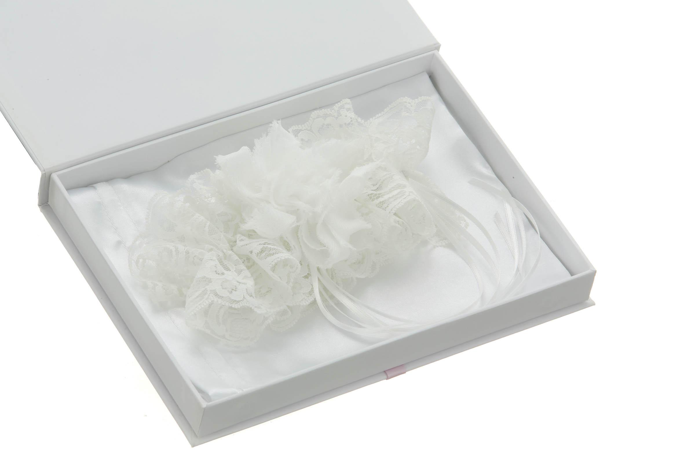 Elle Bridal White Wedding Garter with Chiffon Rose