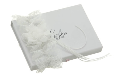 Elle Bridal White Wedding Garter with Chiffon Rose