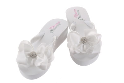 Bridal Flip Flops with Rhinestones and a large bow