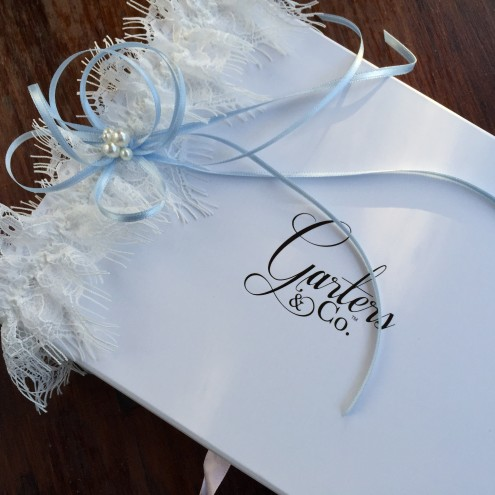 Jessica Wedding Garter with Blue Bow