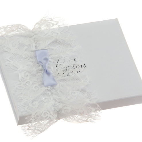 Anise Silk White Wedding Garter with Blue Bow and Lace