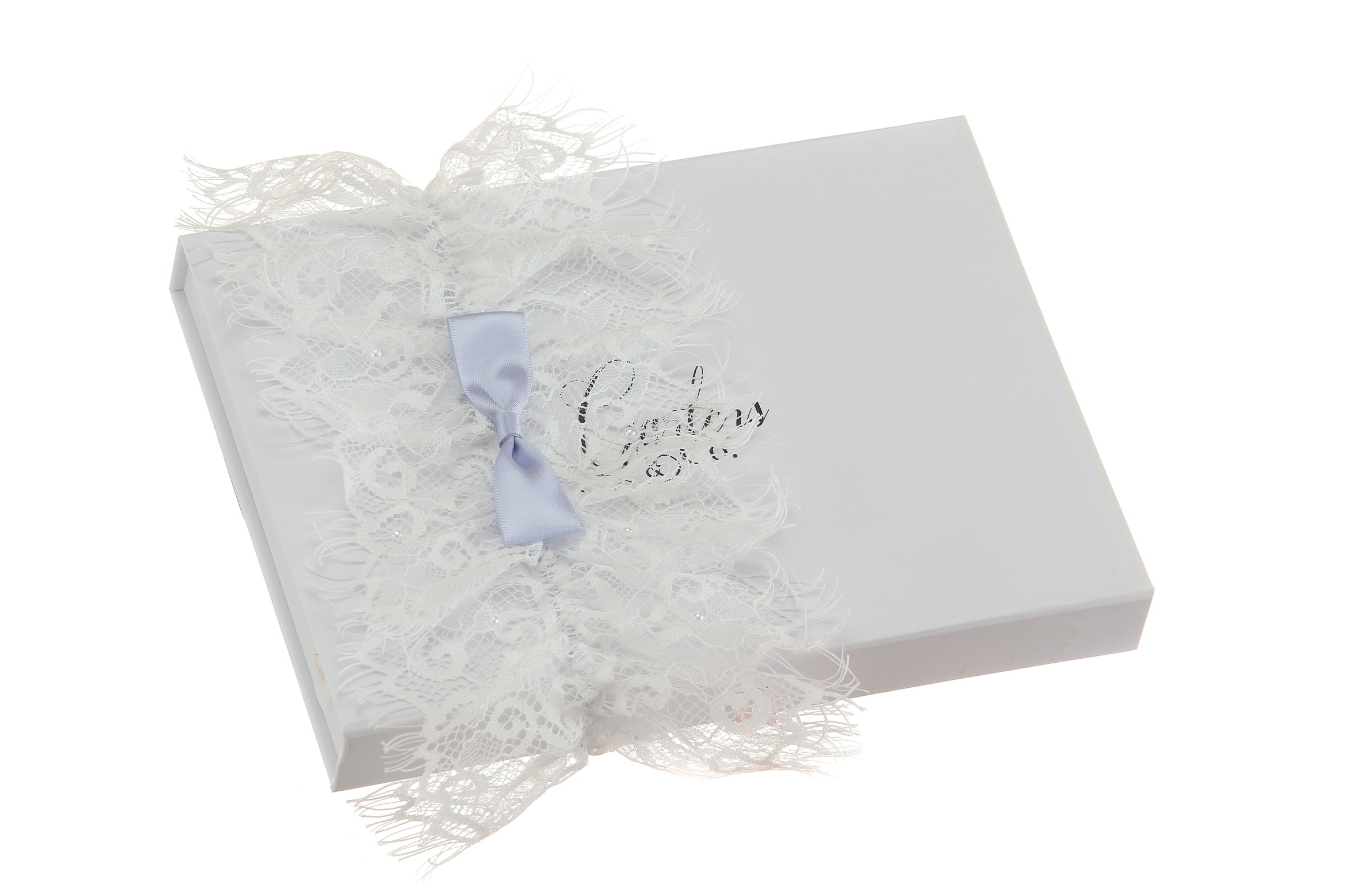 Blue Bow on a Lace Wedding Garter