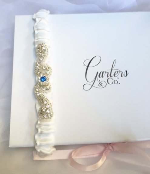 Celeste Rhinestone Wedding Garter with something blue