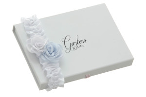Georgia blue and white satin rose wedding garter on Garters and Co Gift Box