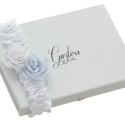 GEORGIA Blue and White Satin Rose Wedding Garter with roses