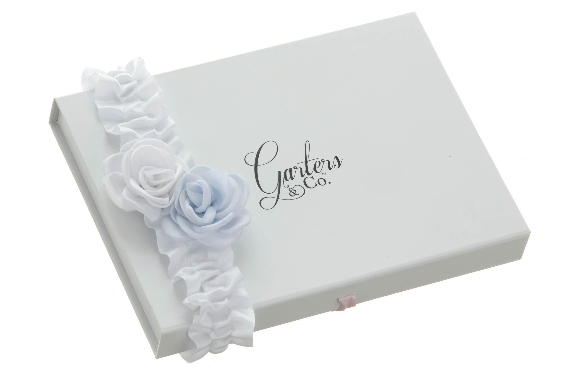 Something Blue Satin Rose Wedding Garter