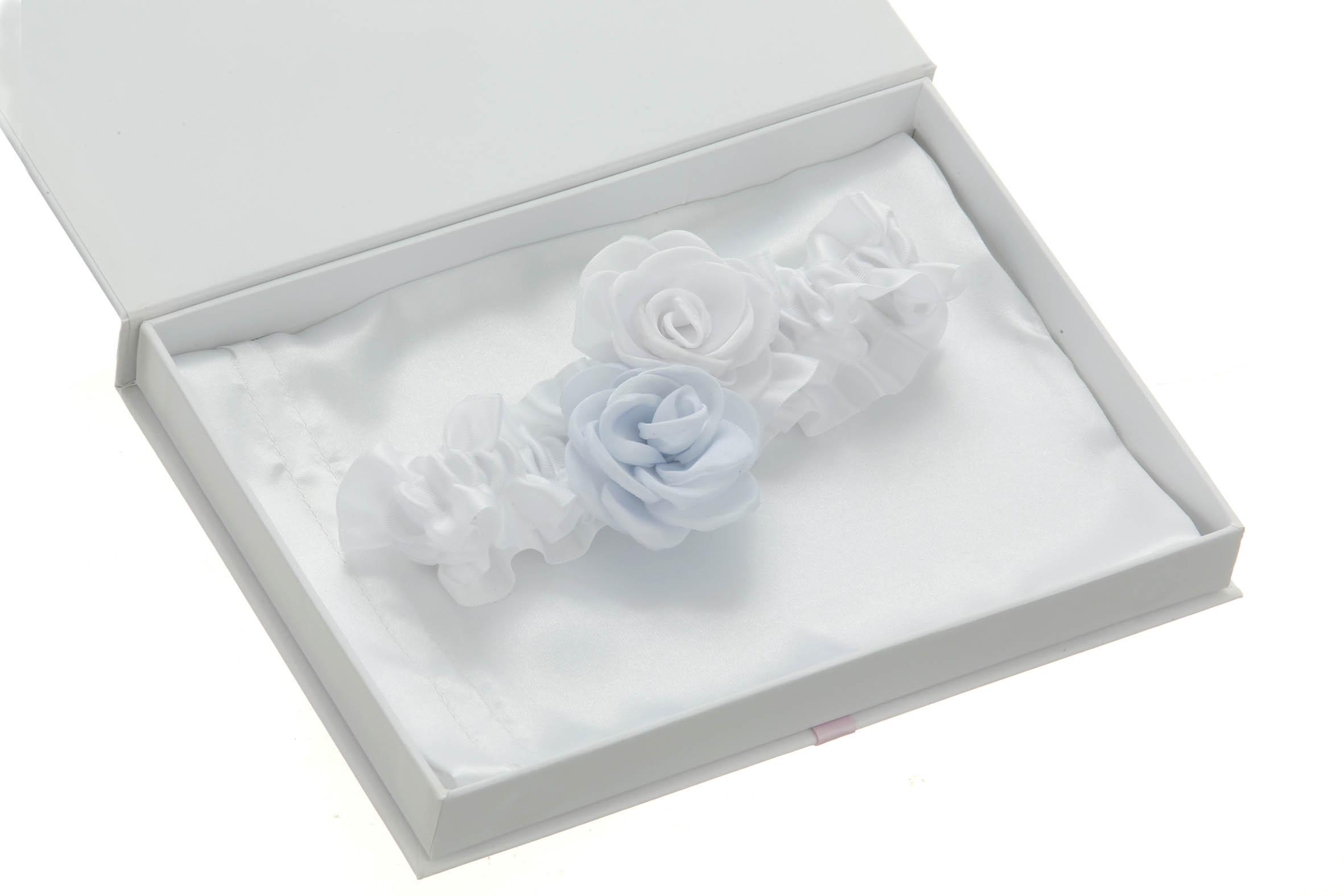 Blue and White Satin Rose Wedding Garter