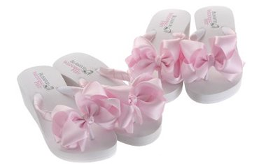 Bridal Flip Flops with a high wedge heel and large boutique bows for Bridesmaids