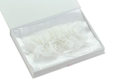 Laura White Garter with Rhinestone