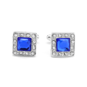 Blue Cufflinks with Rhinestones