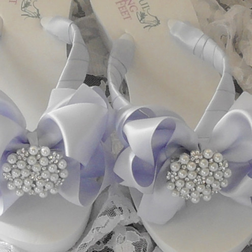 Bridal Flip Flops Blue