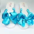 Bridal Flip Flops Turquoise Blue with large bows