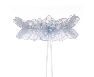 Cassie Blue Lace Wedding Garter with a tousled blue bow and Swarovski blue pearls