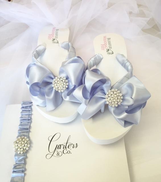 Blue Bridal Flip Flops