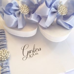 Blue Wedding Flip Flops and Pearls