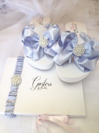 Blue Wedding Flip Flops with Blue Pearls