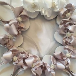 Bridal Flip Flops with Pearls and Bridesmaids Flip Flops with Rhinestones and large bows