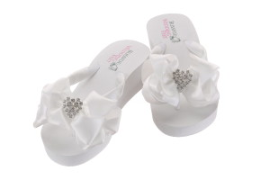 96c20a5af Wedding Flip Flops with high wedge heels embellished with a rhinestones in  a heart shape