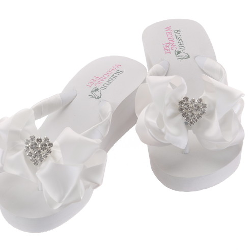 804fe82f8501d Bridal Flip Flops with Hearts and large bow