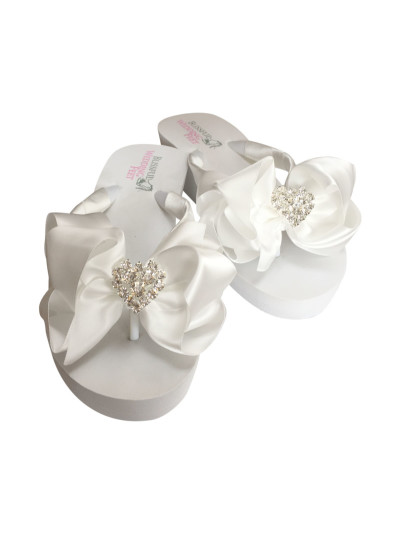 Bridal Flip Flops with Rhinestone Hearts and a large bow
