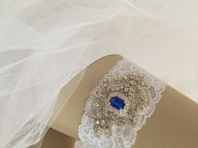 Gabriele Rhinestone Wedding Garter with something blue