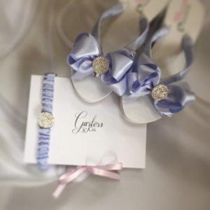 Blue Garter and Blue Bridal Flip Flops