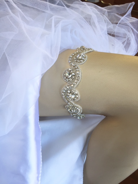 Brittany Crystal Wedding Garter with rhinestones and tiny seed beads
