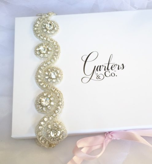 Brittany Crystal Wedding Garter with stunning rhinestones