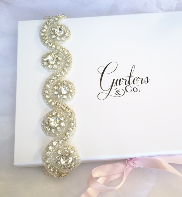 Handmade Brittany Crystal Wedding Garter on Garters and Co Gift Box