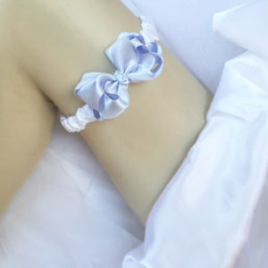 Ava Wedding Garter with Blue Bow