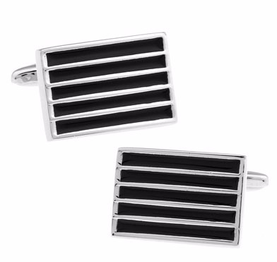Black and Silver Striped Cufflinks