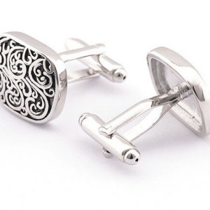 Black and Silver Swirls cufflinks