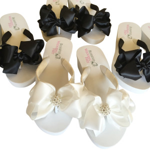 Bridal Flip Flops in Black