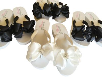 Bridal Flip Flops in Black