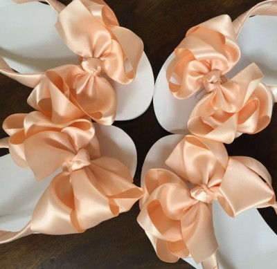 Bridesmaids Flip Flops in Peach