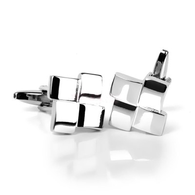 Unique Silver Geometric Cufflinks