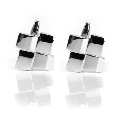 Unique Silver Geometric Cufflinks