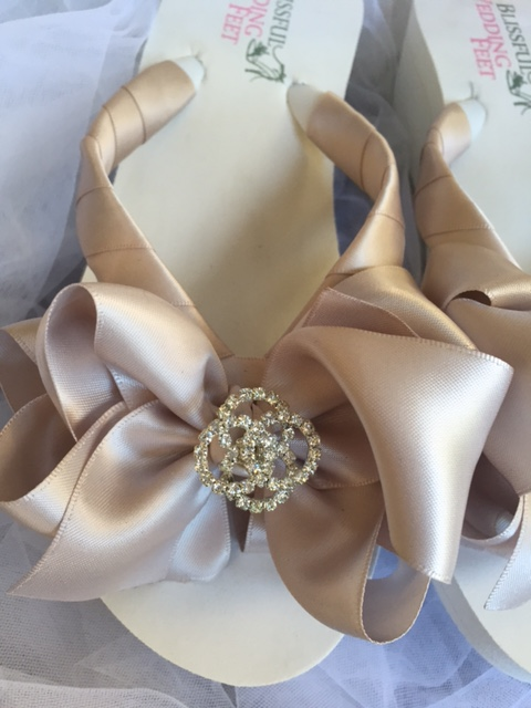 Latte Bridal Flip Flops