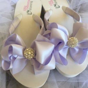 Lilac Bridal Flip Flops with Rhinestones