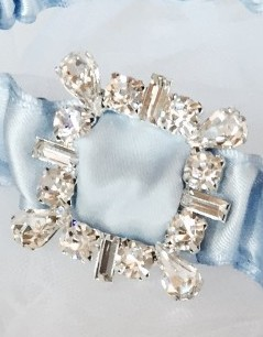 Retro Rhinestone Wedding Garter in blue