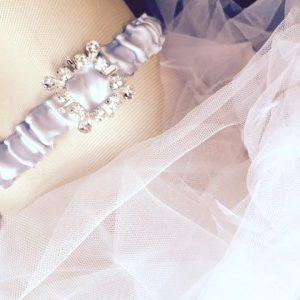 Retro Rhinestone Wedding Garter in blue