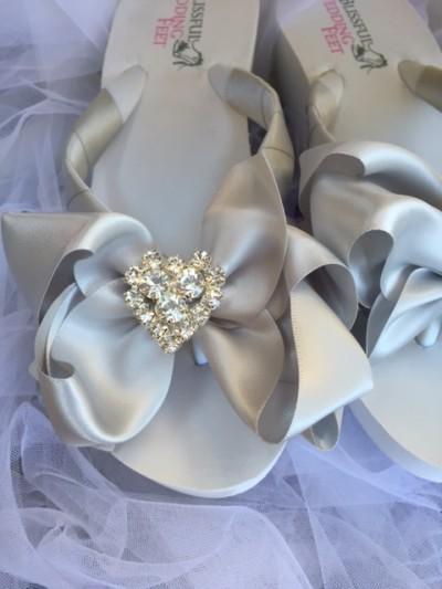 b9b2fca6603c Silver Bridal Flip Flops with Rhinestone Hearts