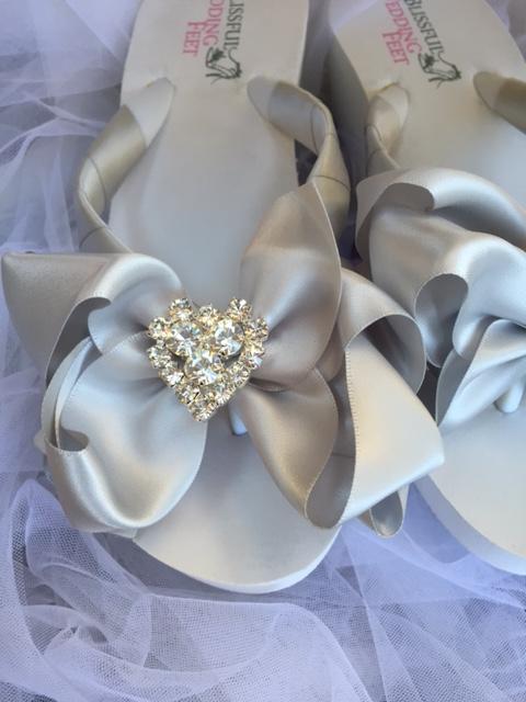 Silver Bridal Flip Flops